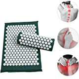 Anself Acupressure Mat and Pillow Tapis Acupression Acupuncture Massage Pillow Spike Yoga Mat for Back/Neck/Feet Pain…