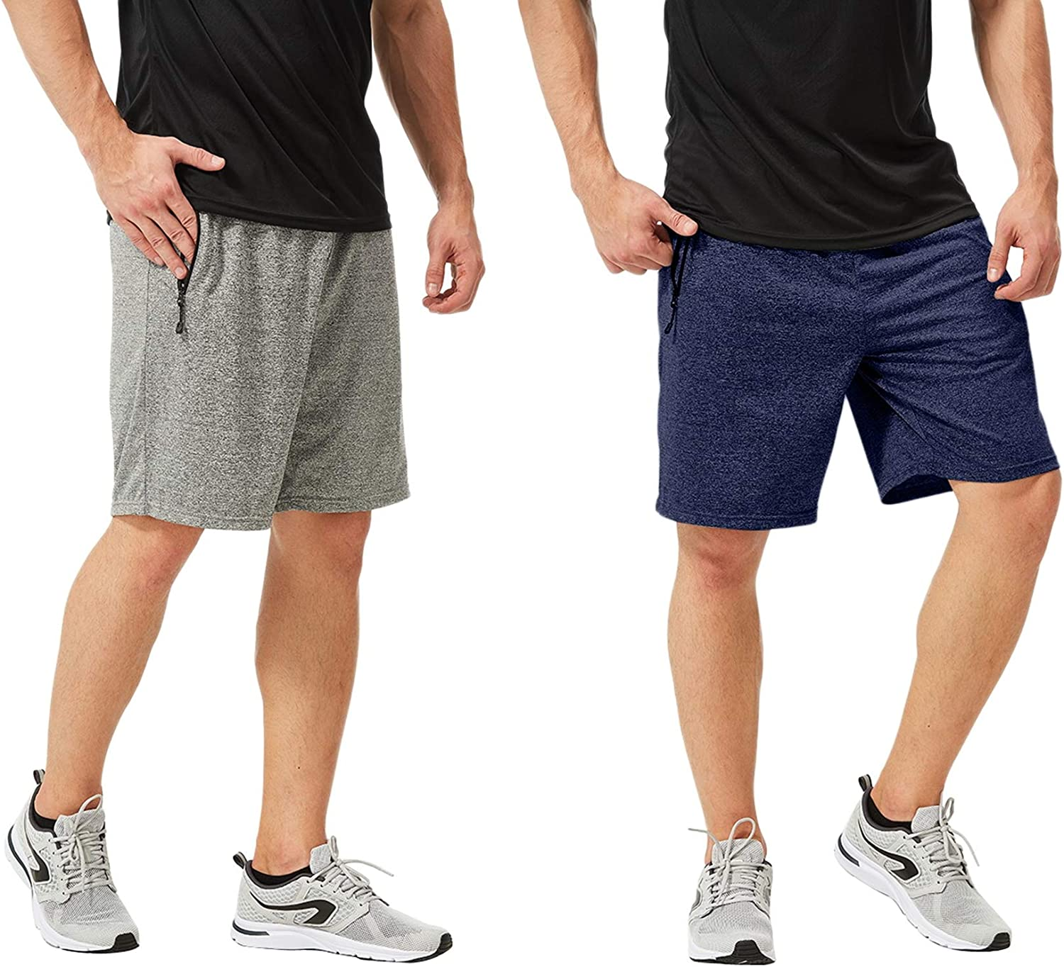 2pcs Set TEXFIT Mens 2-Pack Gym Shorts with Zipper Pockets Athletic Shorts with Quick Dry Stretch Fabric