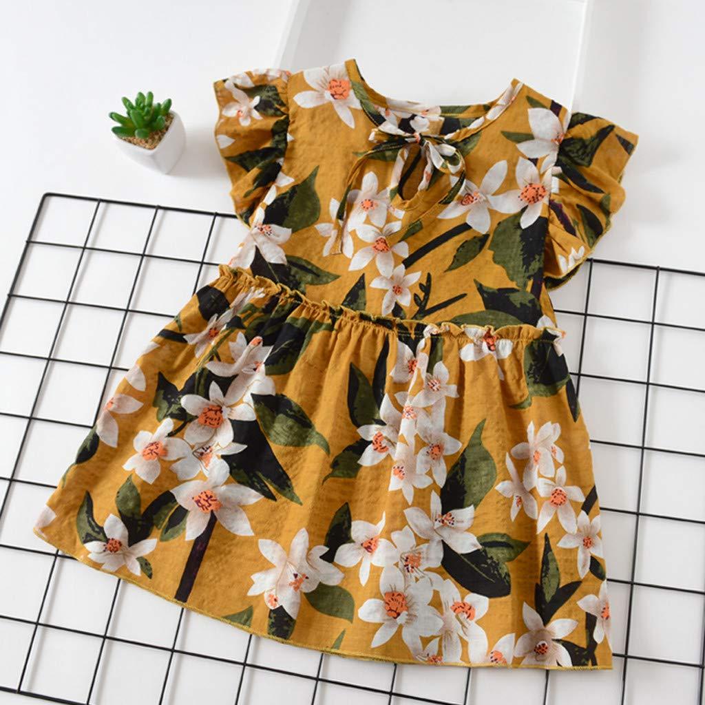 HEETEY Kinder T-Shirt Sommer Oberteile Kleinkind Baby Kinder M/ädchen Fliegenh/ülle B/änder Geraffte Blumenprinzessin Kleider