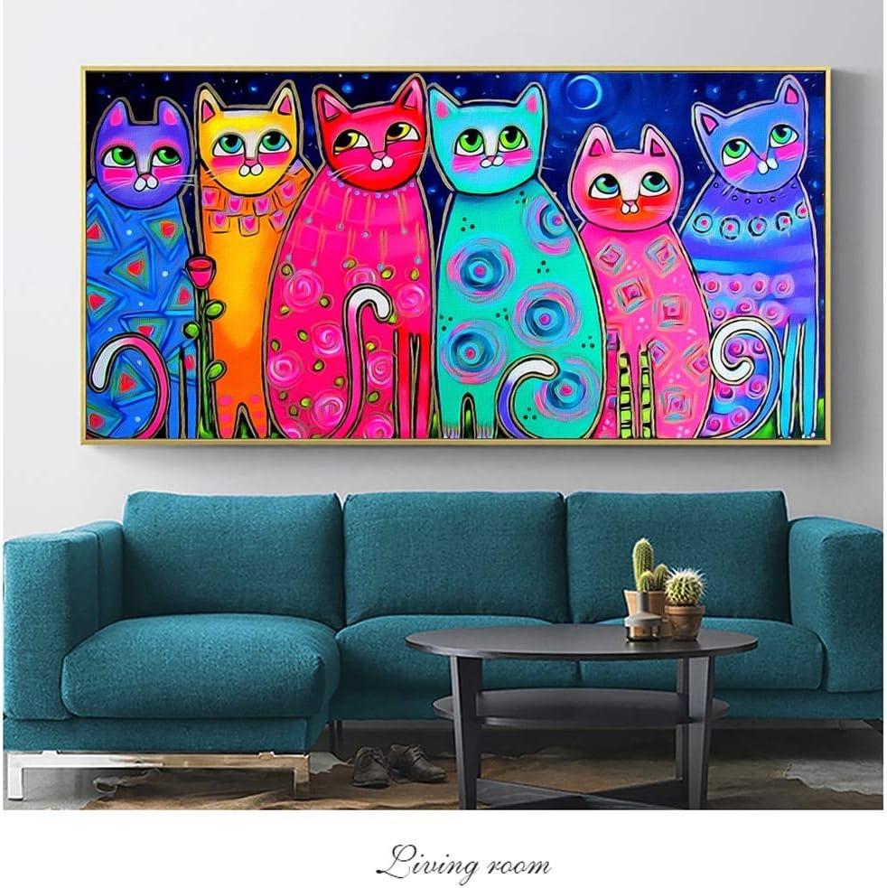 Impresiones modernas de la lona del arte de la pared del gato animales apasionados graffiti murales de la lona arte pop cuadros de la lona habitación de los niños pintura sin marco 60x120cm
