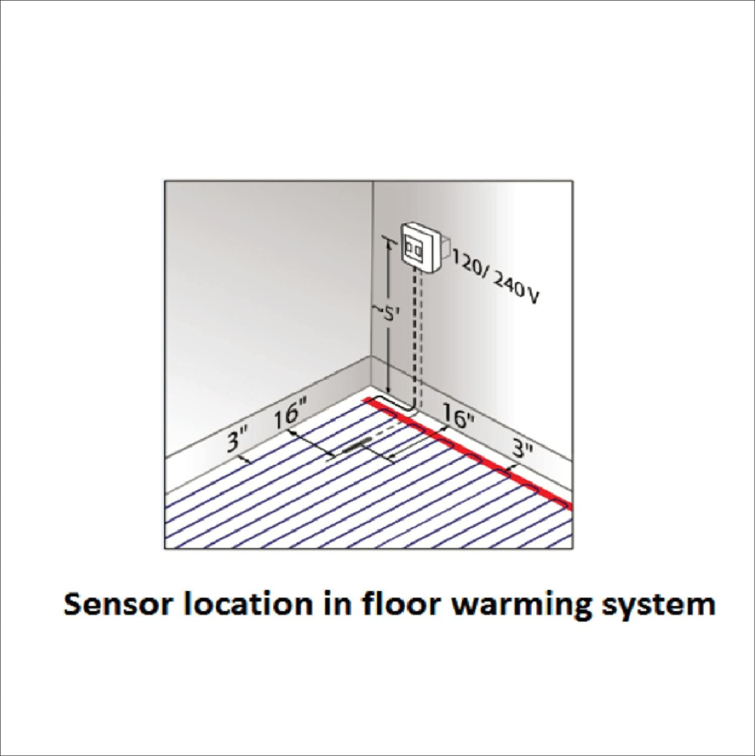 Floor Heating System 45 Sq.Ft. 3.7W 120V Electric Tile Radiant Floor Heating Cable with UDG-4999 Programmable Thermostat