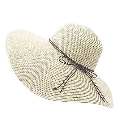 39d088cc YUUVE Ladies Summer Straw Hat Foldable Beach Cap Wide Brim Large Fedora  Floppy Sun Hat for