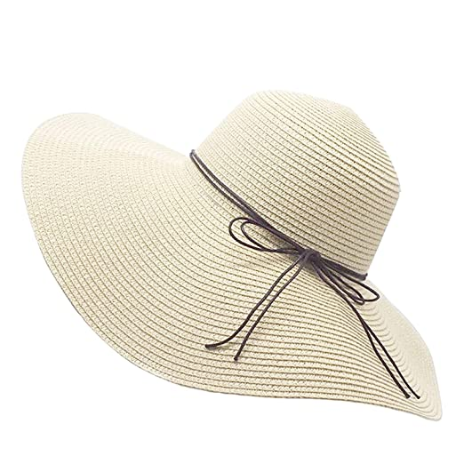 107dadbb123 Image Unavailable. Image not available for. Color  Floppy Straw Hat Large  Brim Sun Hat Women Summer Beach Cap Big Foldable ...