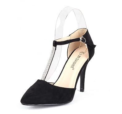 8547c54213530a Elegante Damen Schuhe High Heels Spitz Schließen Zehe Stiletto Pumps  Hochzeit Schuhe Party Schuhe Knöchelriemchen mit