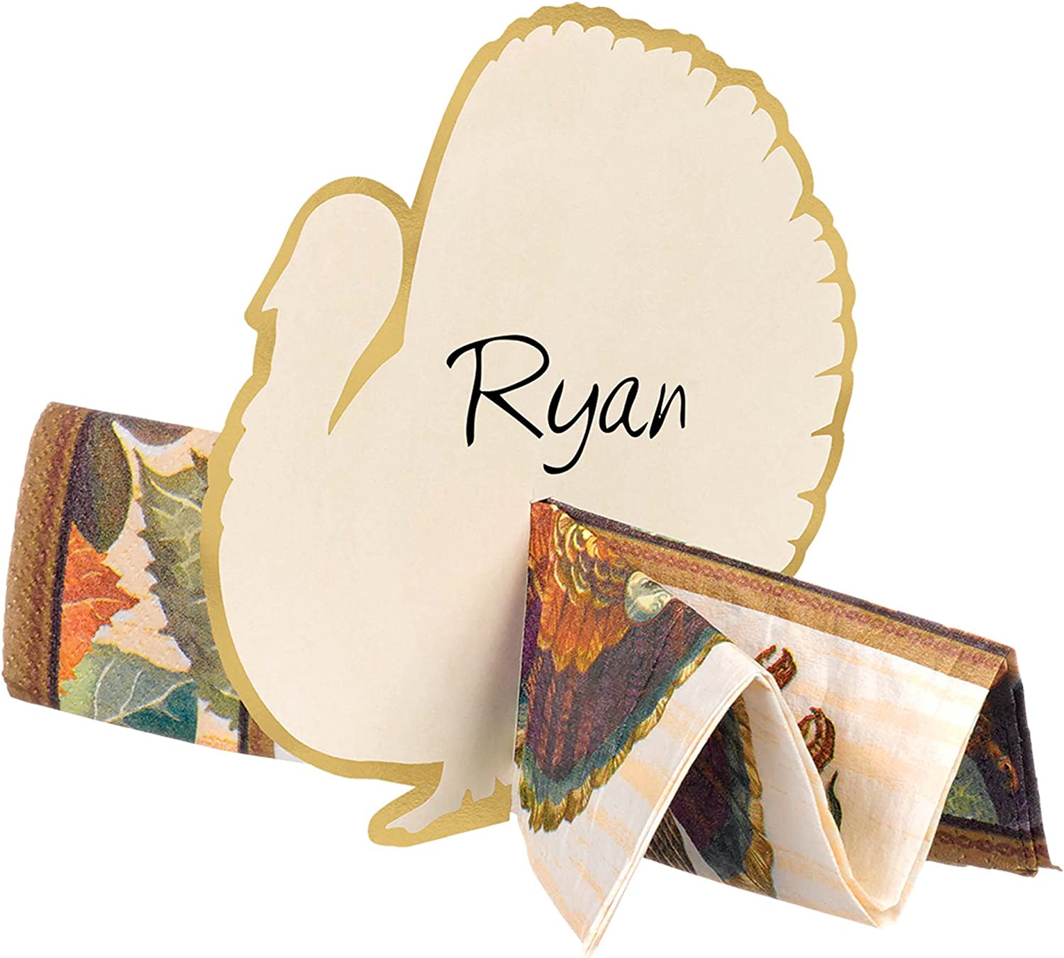 12 Ct. Thanksgiving Turkey Shaped Paper Place Card Napkin Holders 5.1 x 5.3
