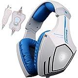 SADES A60 7.1 USB Surround-Sound-Stereo Profi PC Gaming Headset Over-Ear-Kopfhörer mit Bügel mit hoher Empfindlichkeit Mic Vibrationsfunktion Lautstärkeregelung Fernbedienung Wolf Logo LED-Blinklichter (weiß)