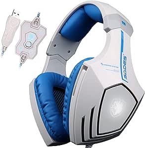 Sades A60 Auriculares, 7.1USB, sonido estéreo envolvente, para jugadores, con diadema, con micrófono de alta sensibilidad, función de vibración, regulación del volumen, mando a distancia, logotipo de lobo, LED intermitente, color blanco