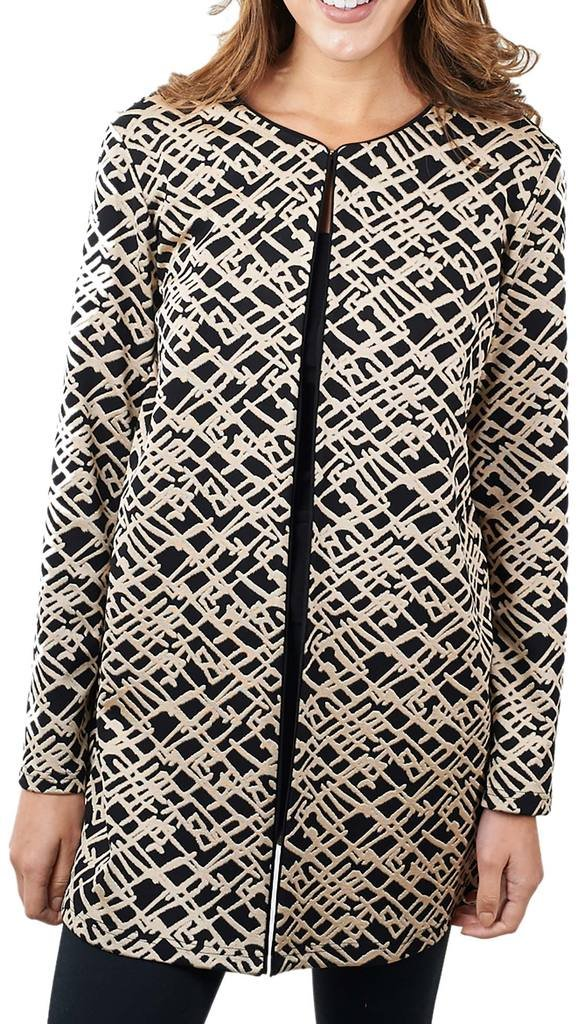 Joseph Ribkoff Black & Blush Abstract Pattern Coverup Jacket Style 171787 - Size 18