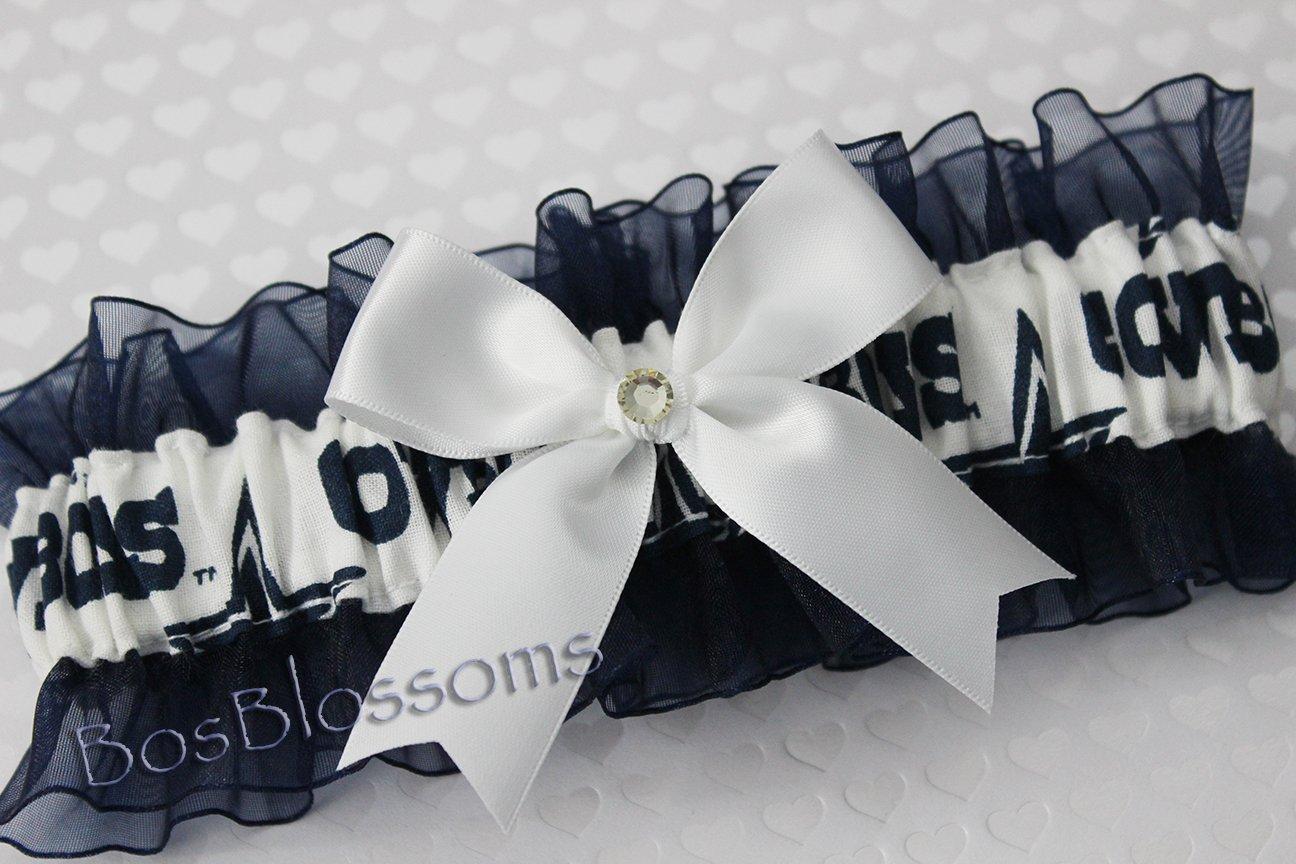 Customizable - Dallas Cowboys white fabric handmade into bridal prom navy organza wedding keepsake garter with white bow wks