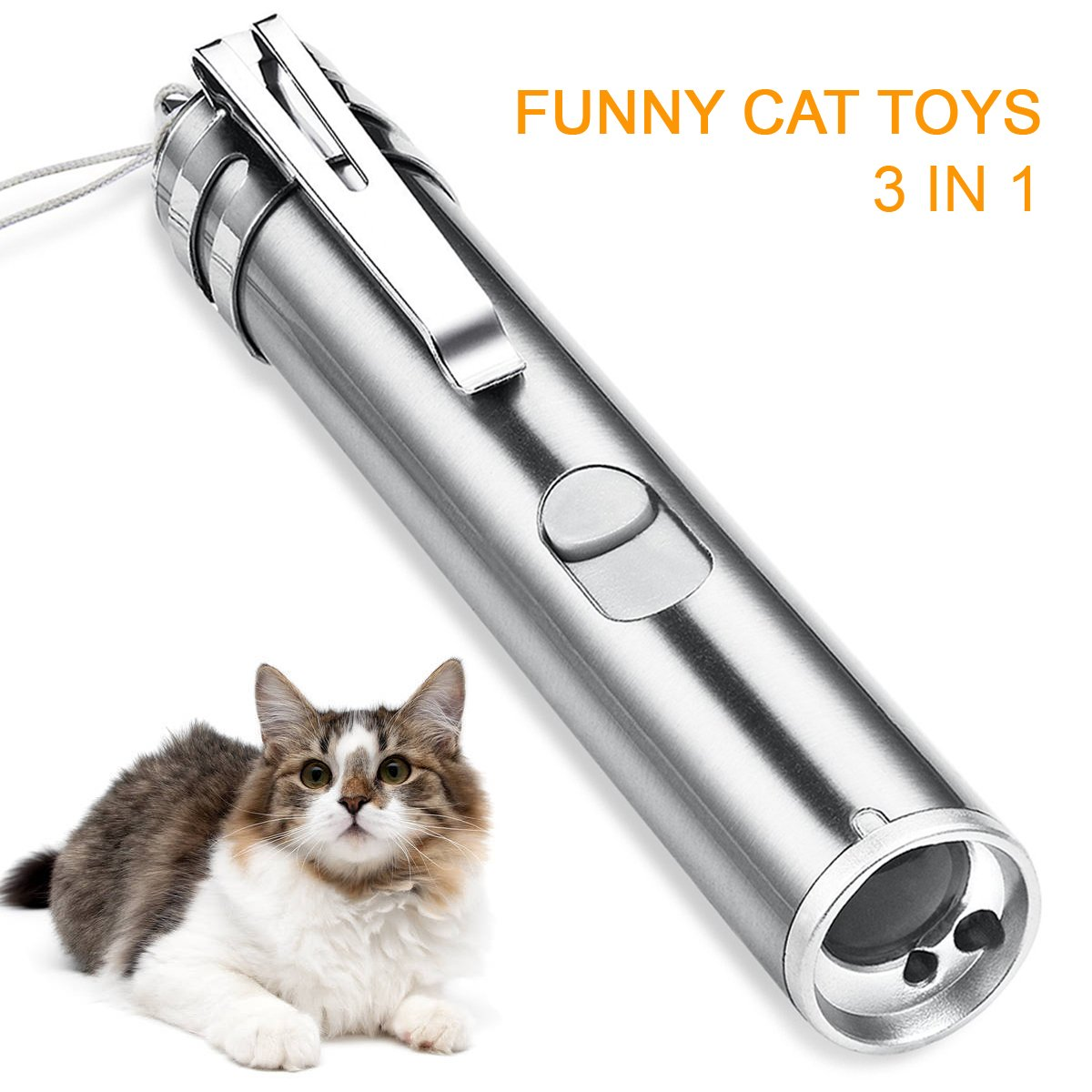 OKILA 3 in 1 Chaser Cat Toy Best Pet Cat LED Light Pointer Toys, Red Light and Flashlight UV Light Interactive LED Light Training Exercise Toy (USB Charging)
