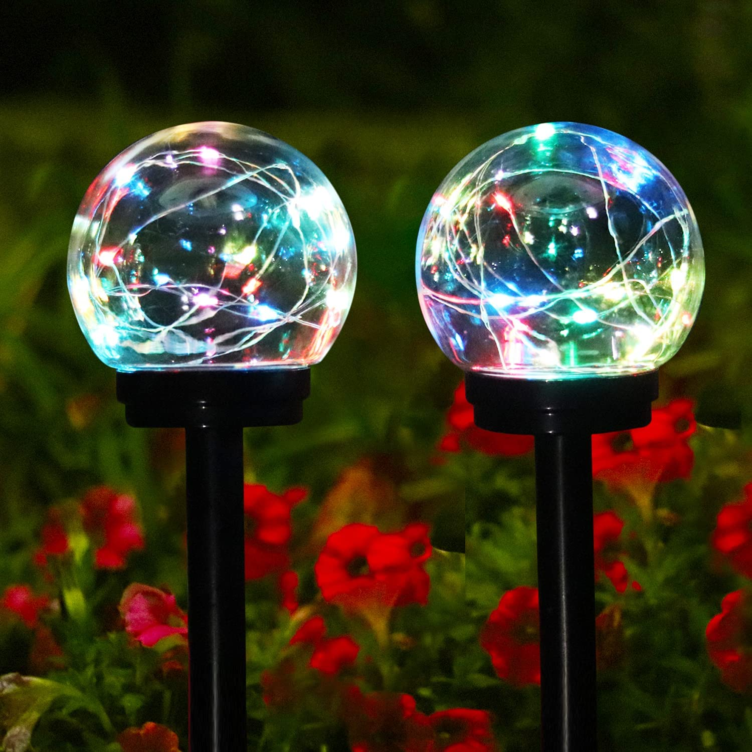 Garden Solar Lights Pathway Outdoor Solar LED Colour Changing Globe Garden Stake Lights Decor Yard Art Waterproof Lights for Yard Patio Walkway Landscape Lawn Decorations(2 Pack)