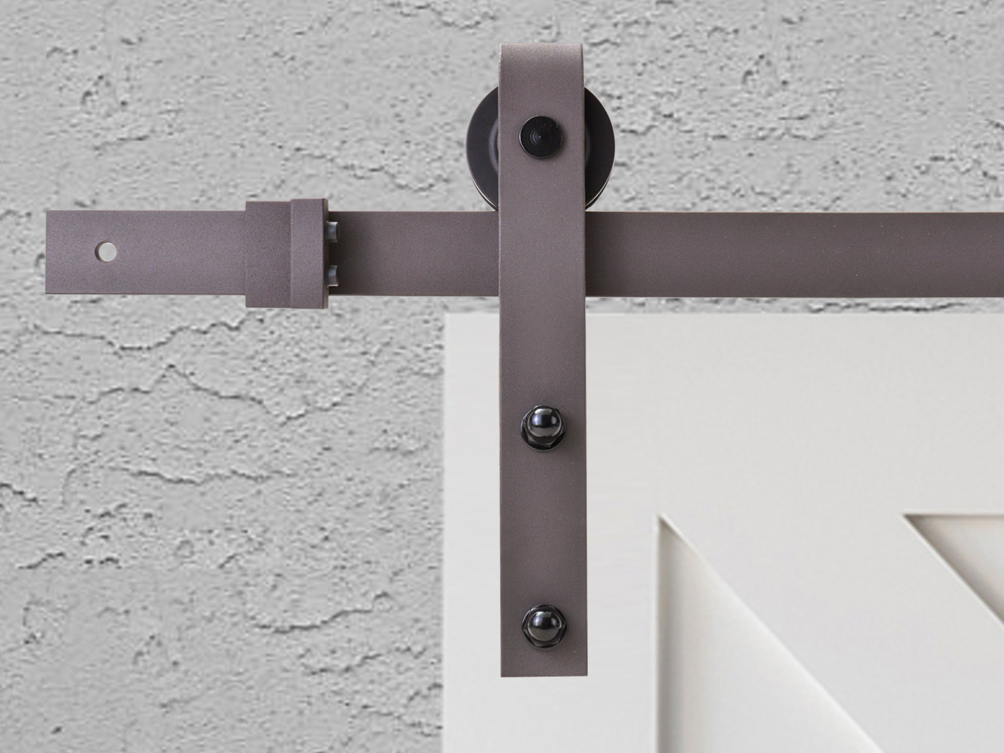 Classic Bent Strap Barn Style Decorative Sliding Door Track and Hardware Set (6.6 FT, Antique Bronze) by Calhome (Image #3)