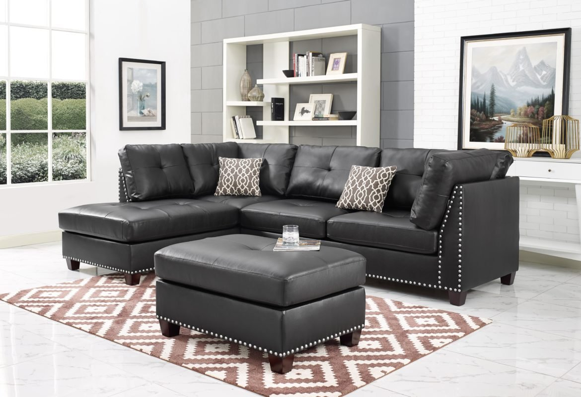 Amazon com infini furnishings ind6601jb leather sectional sofa dark espresso kitchen dining