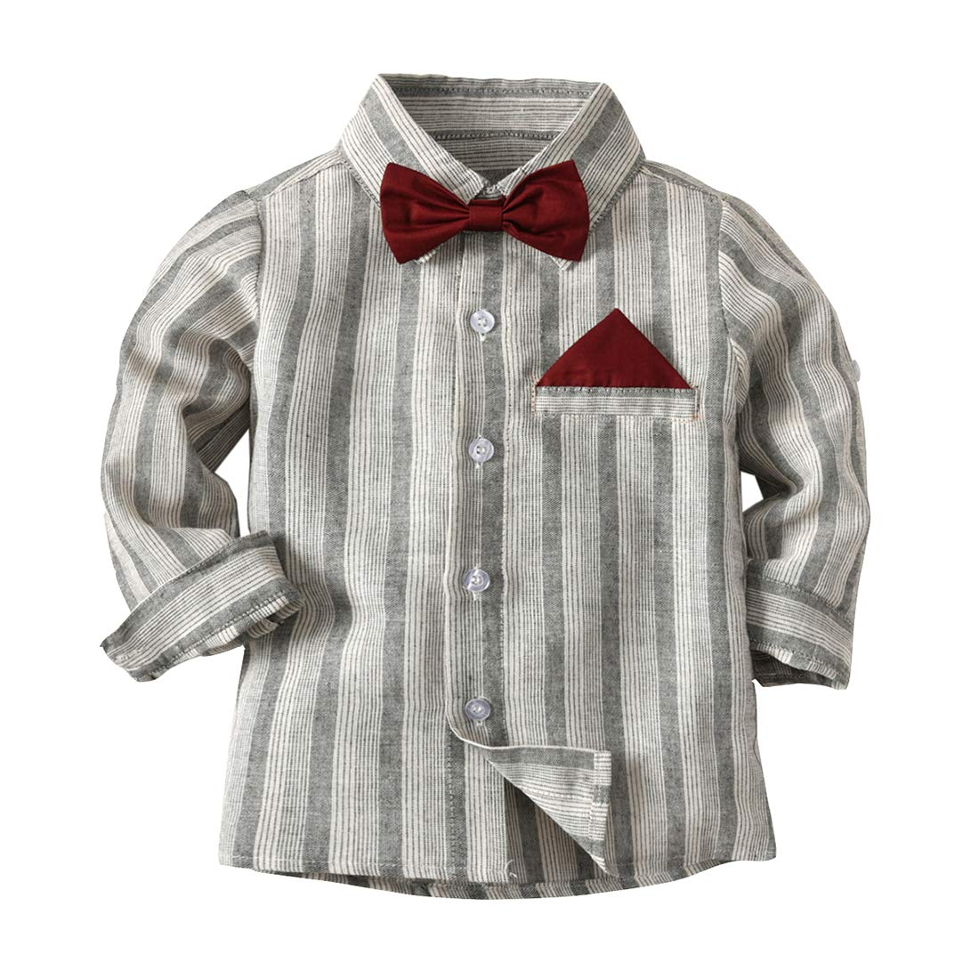 Fairy Baby Little Boys Gentleman Outfit Casual Long Sleeve Striped Formal Shirt with Bow Size 6T (Gray)