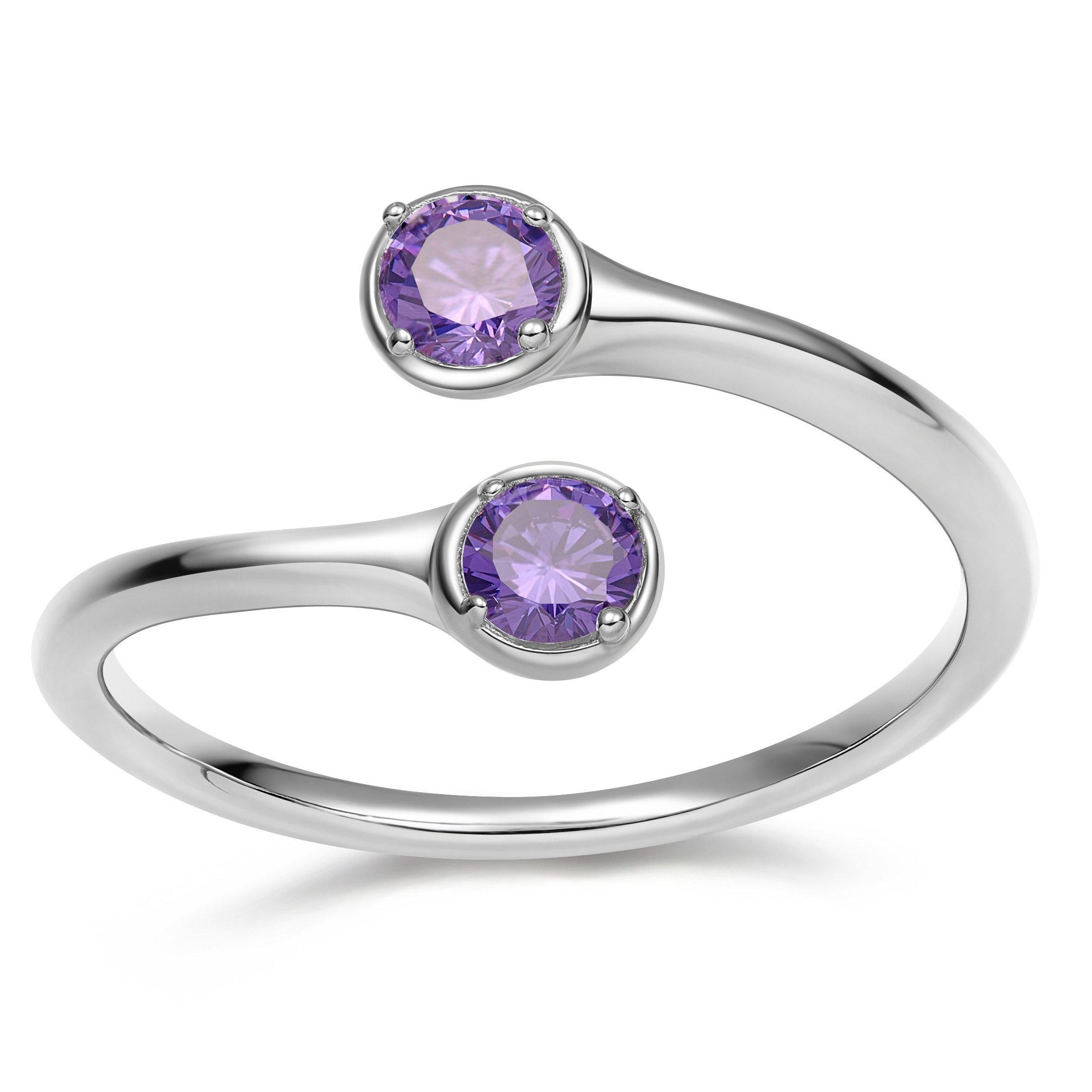 EAMTI Wrap Adjustable 925 Sterling Silver Amethyst Cubic Zirconia February Birthstone Wedding Engagement Ring