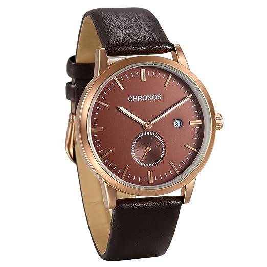 JewelryWe Reloj de Hombre Caballero Correa de Cuero Retro Vintage, Marron Reloj con Calendario,