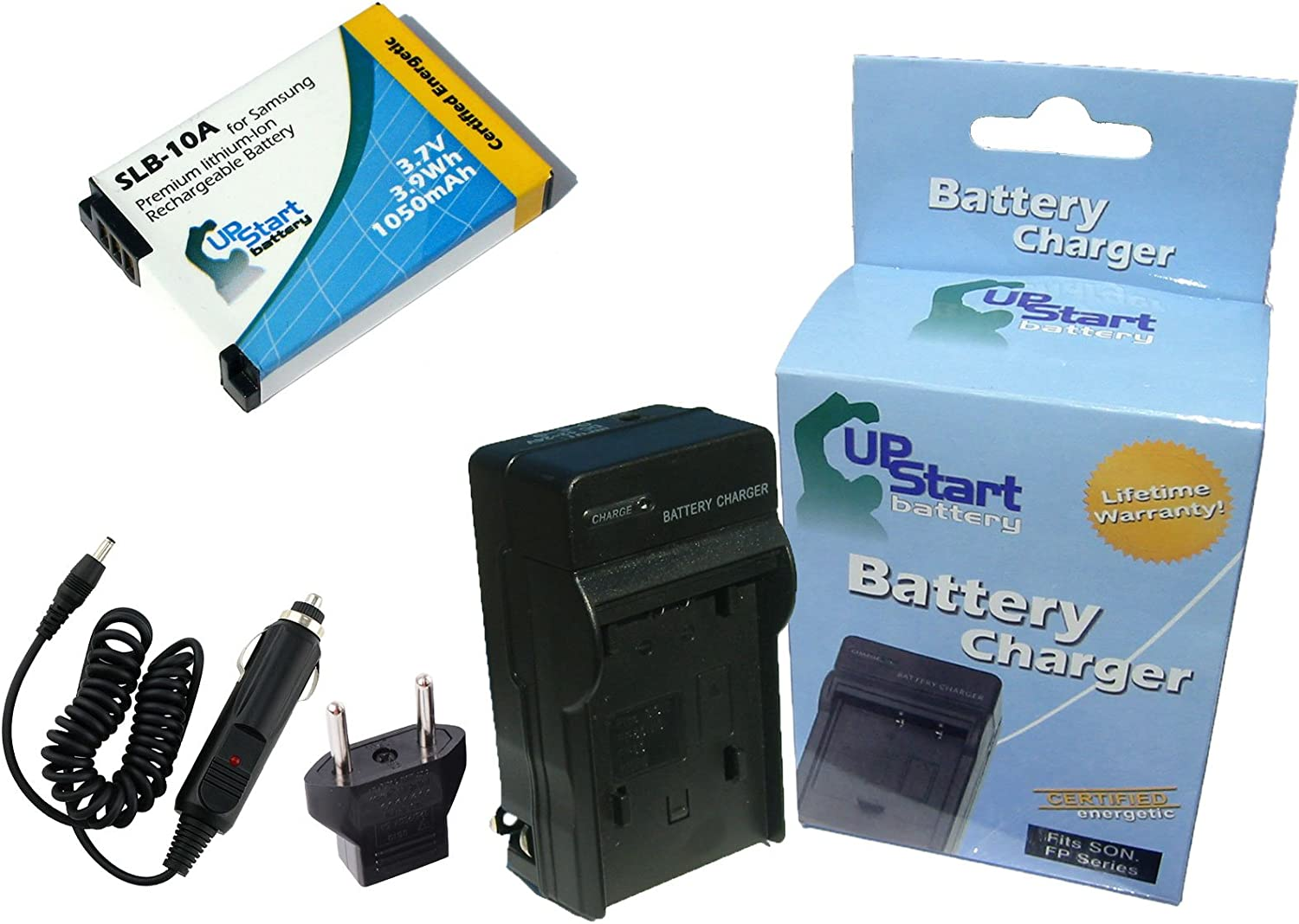 Compatible with Samsung SLB-10A Digital Camera Batteries and Chargers Replacement for Samsung PL65 Battery and Charger with Car Plug and EU Adapter 1050mAh 3.7V Lithium-Ion