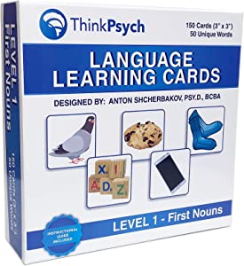 THINKPSYCH Noun Picture Cards | 150 Durable Flash Cards | 18 Months+ | ABA Therapy Materials | Speech Therapy | Autism Learning Materials