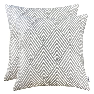 SLOW COW Cotton Embroidery Throw Pillow Covers Grey Diamonds Decor Accent Decorative Pillow Covers for Sofa and Living Room, 18x18 Inch, Set of 2