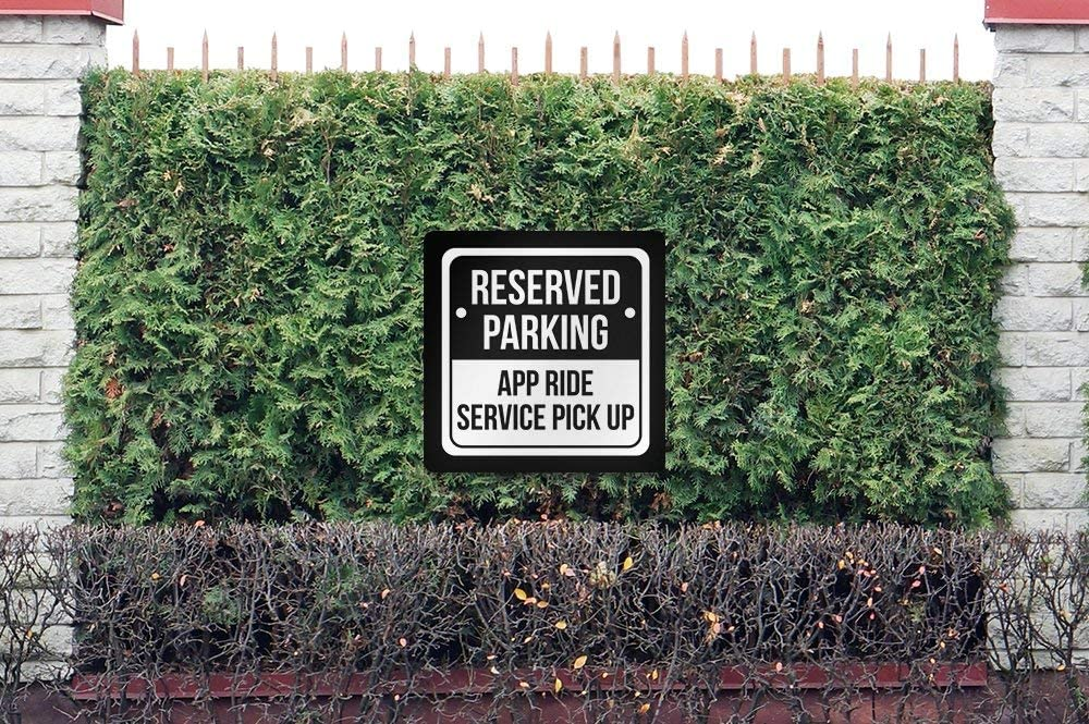 6 Pack of Signs Reserved Parking App Ride Service Pick Up Print Black and White Notice Parking Metal Square Sign 12x12