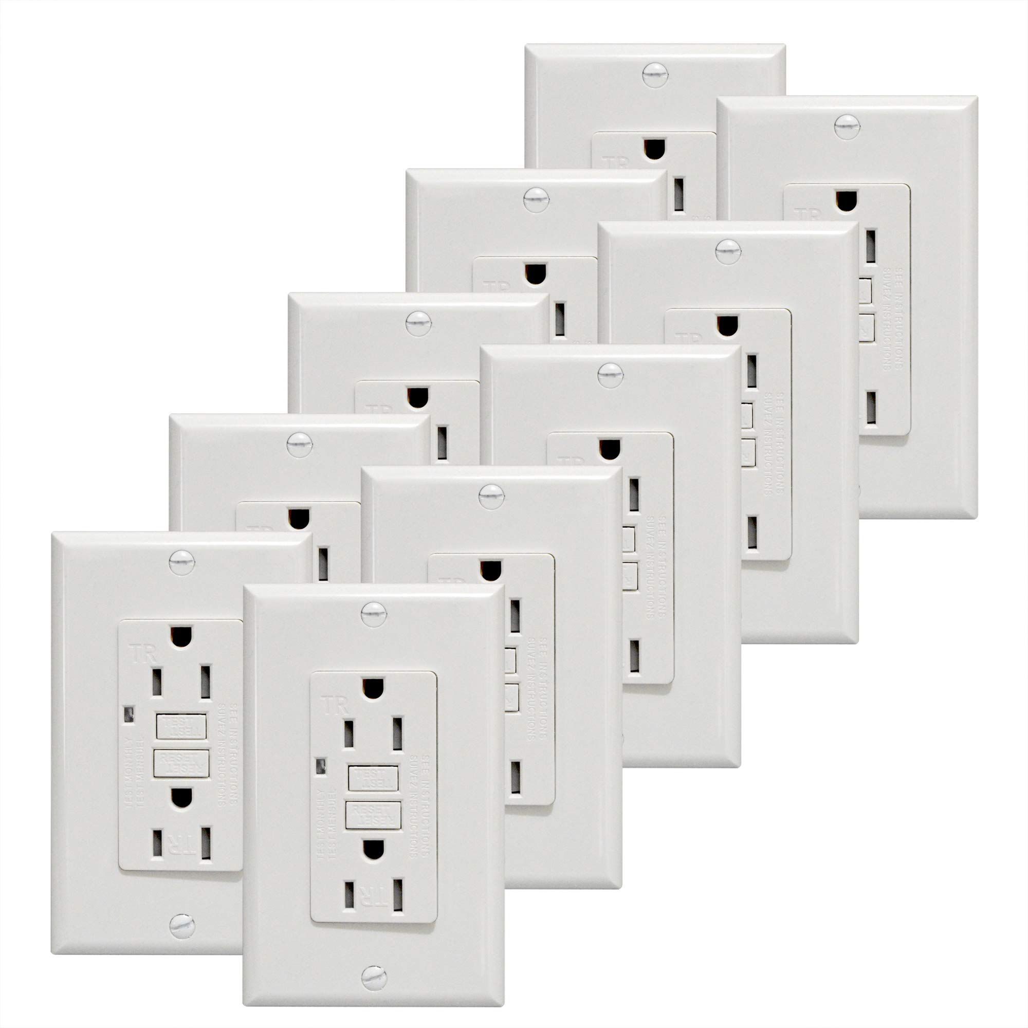 GFCI Outlet 15A Standard Decorative Tamper Resistant Duplex Receptacle with LED Indicator, Ground Fault Circuit Interrupter, Decorative Wallplate, Safelock Protection, UL Listed, White 10-Pack