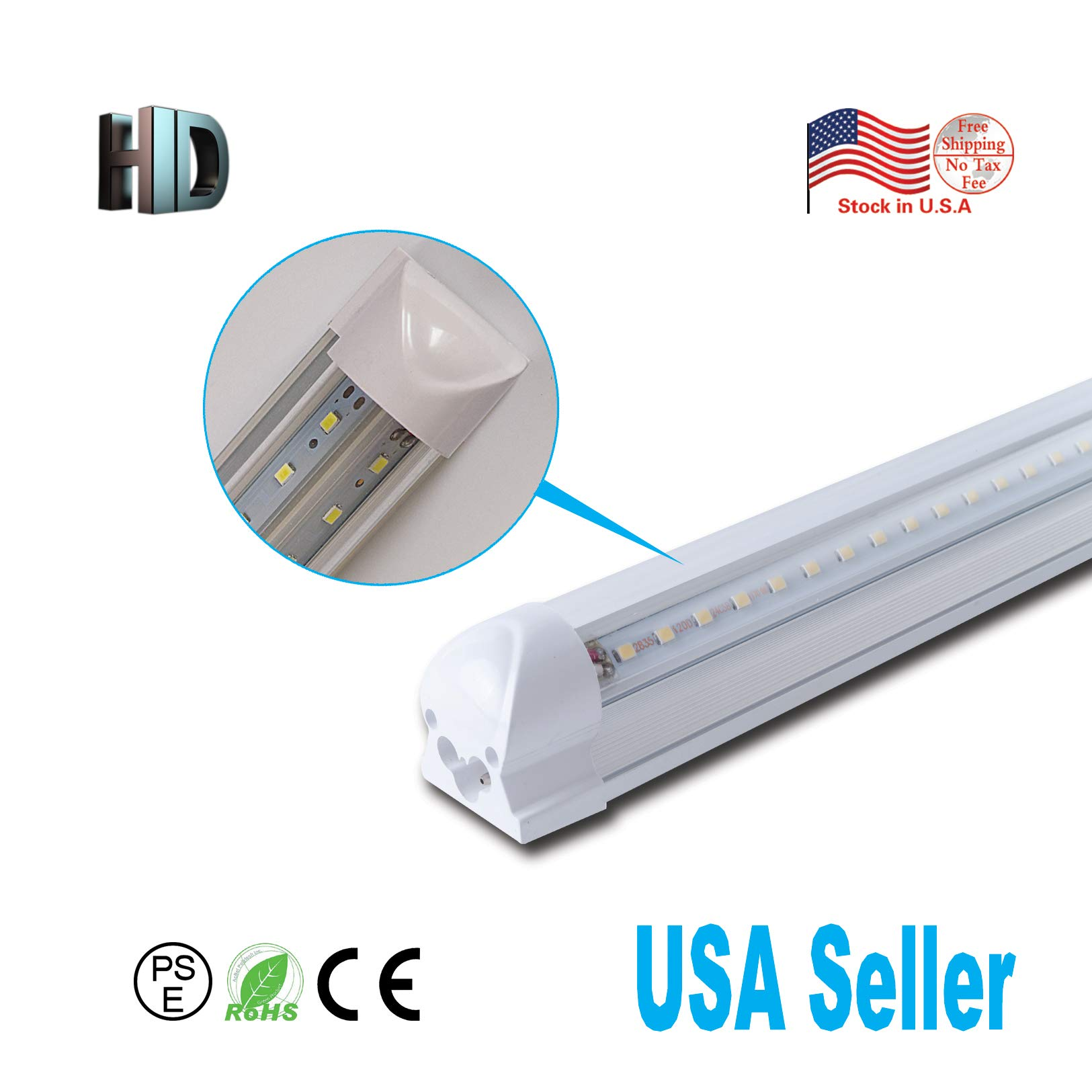 25 Pack LED T8 Integrated v Shaped Tube 4ft 40W AC110-277V LED Bulb Tube Lamp Clear Cover with 6500K LED Light Tube SMD2835 chip high Brightness T8 Integrated v Shaped Tube lamp