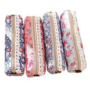 Polytree 4pcs Retro Flower Floral Lace Pencil Pen Case Cosmetic Makeup Bag Zipper Pouch Purse