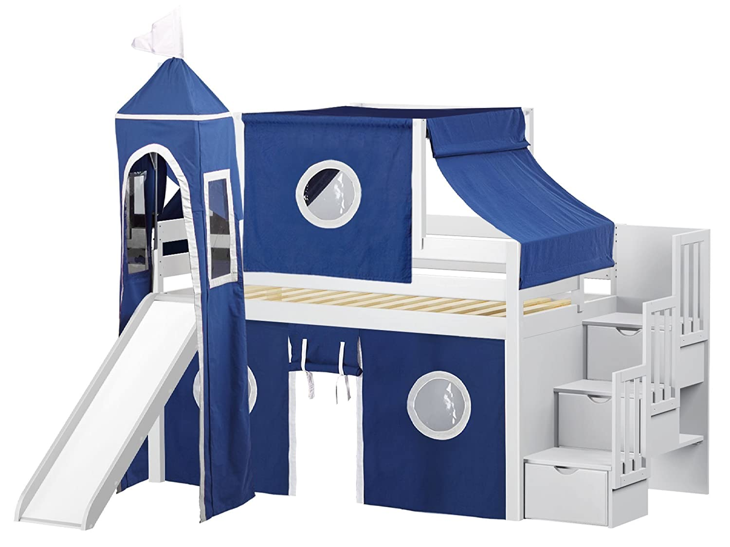 JACKPOT! Castle Low Stairway Slide Blue and White Tent and Tower Loft Bed, Twin