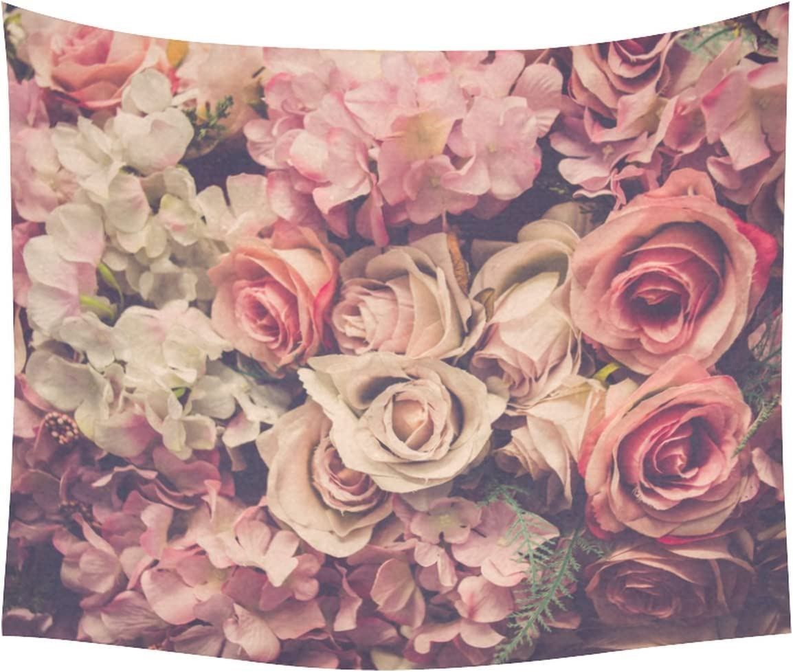 INTERESTPRINT Flower Pattern Home Decor Tapestries Wall Art, Pink Rose Flower Tapestry Wall Hanging Art Sets 60 X 51 Inches