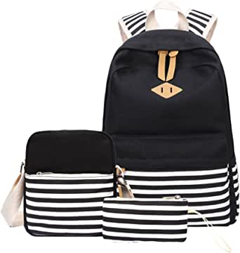 Backpacks for Girls, Aiduy Canvas Stripe Backpack School Bag College Bookbag Lightweight Travel Daypack with Pencil Case and Shoulder Backpack for Teens Boys