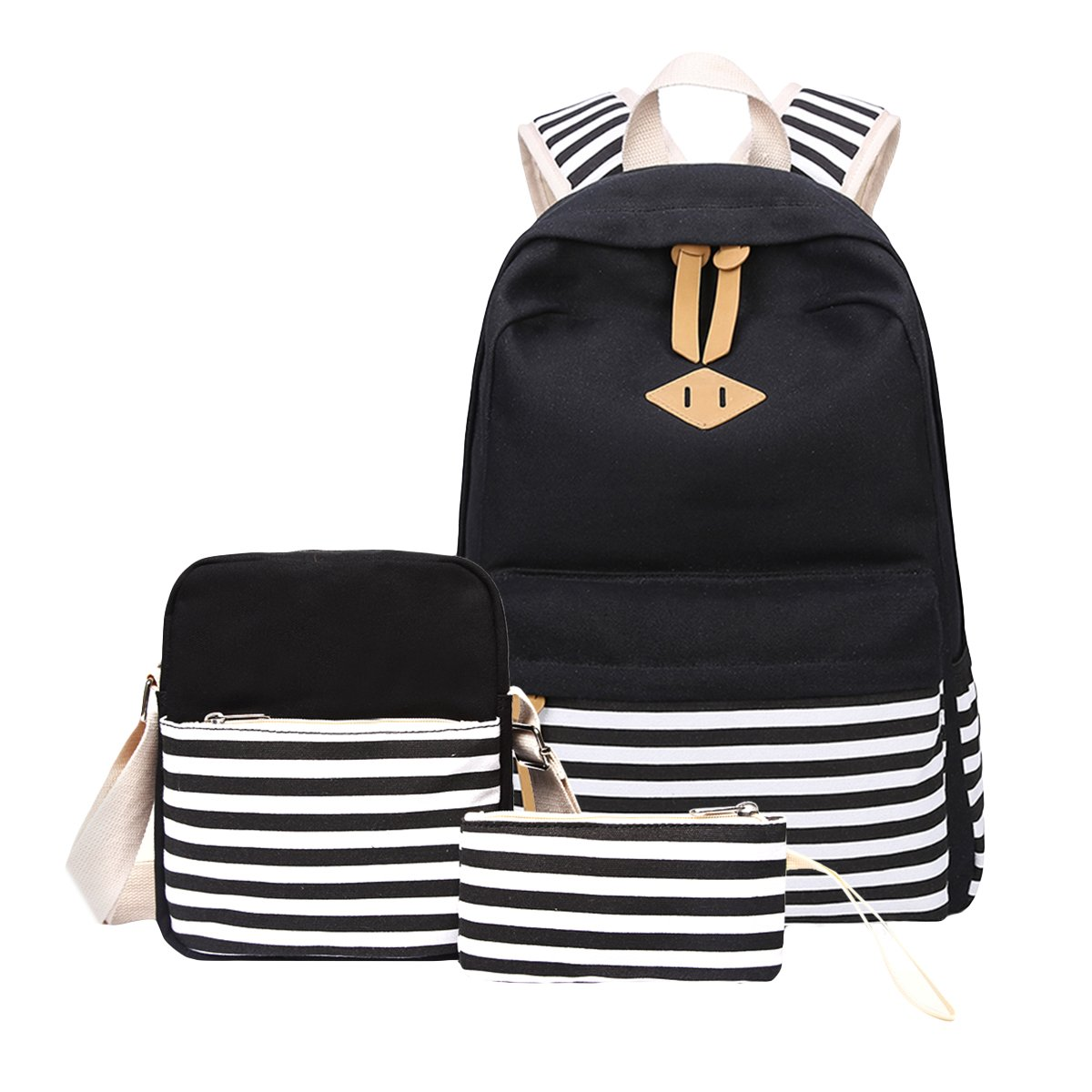 School Backpack, Aiduy Lightweight Casual Canvas Backpacks Bookbag Laptop Backpack with Shoulder Bag and Pencil Case for Girls Boys (Black)