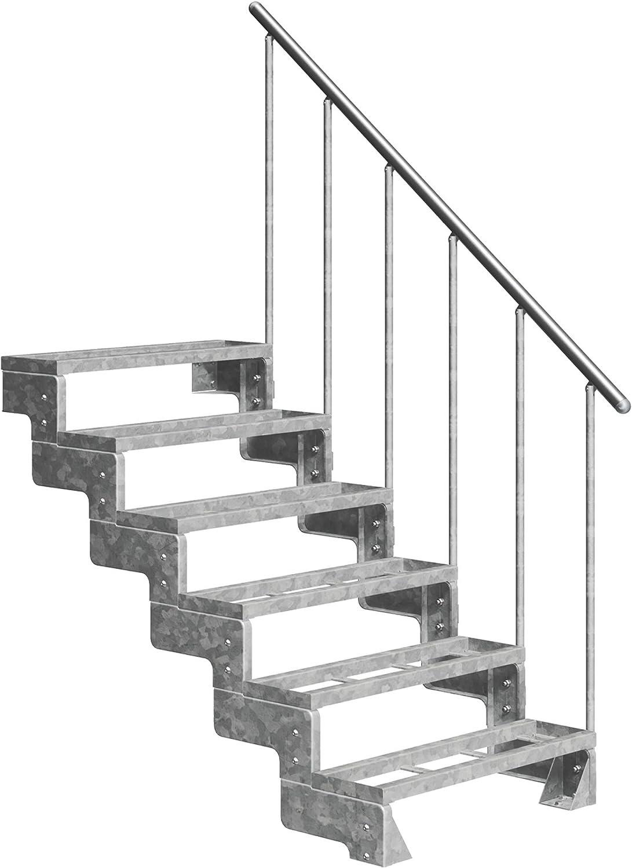 ohne Steiggel/änder 80 cm Geschossh/öhe 36-44 cm │ Stufenauflage Einlegestufen │ Stufenbreite DOLLE Au/ßentreppe Gardentop mit 2 Stufen