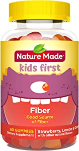 Nature Made Kids First Fiber Gummies, 60 Count for Digestive Health† (Packaging May Vary)