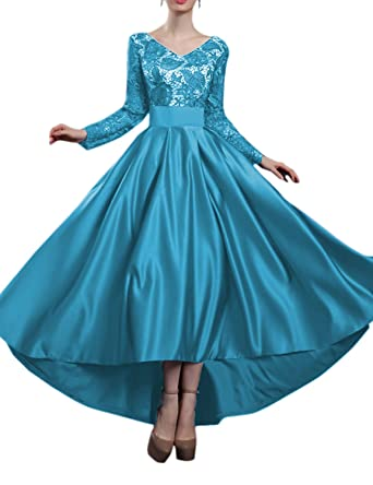 2852760566 Women s Satin High Low Homecoming Dresses 2019 Long Sleeve Lace Prom Gown  Size 2 Blue