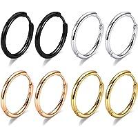 316L Surgical Steel Hoop Earrings, 6mm 8mm 10mm Huggie Hoop Earrings Men Hypoallergenic, Small Sleeper Mens Hoop…