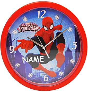 Wanduhr Spider Man Incl Name 25 Cm Gross Sehr Leise