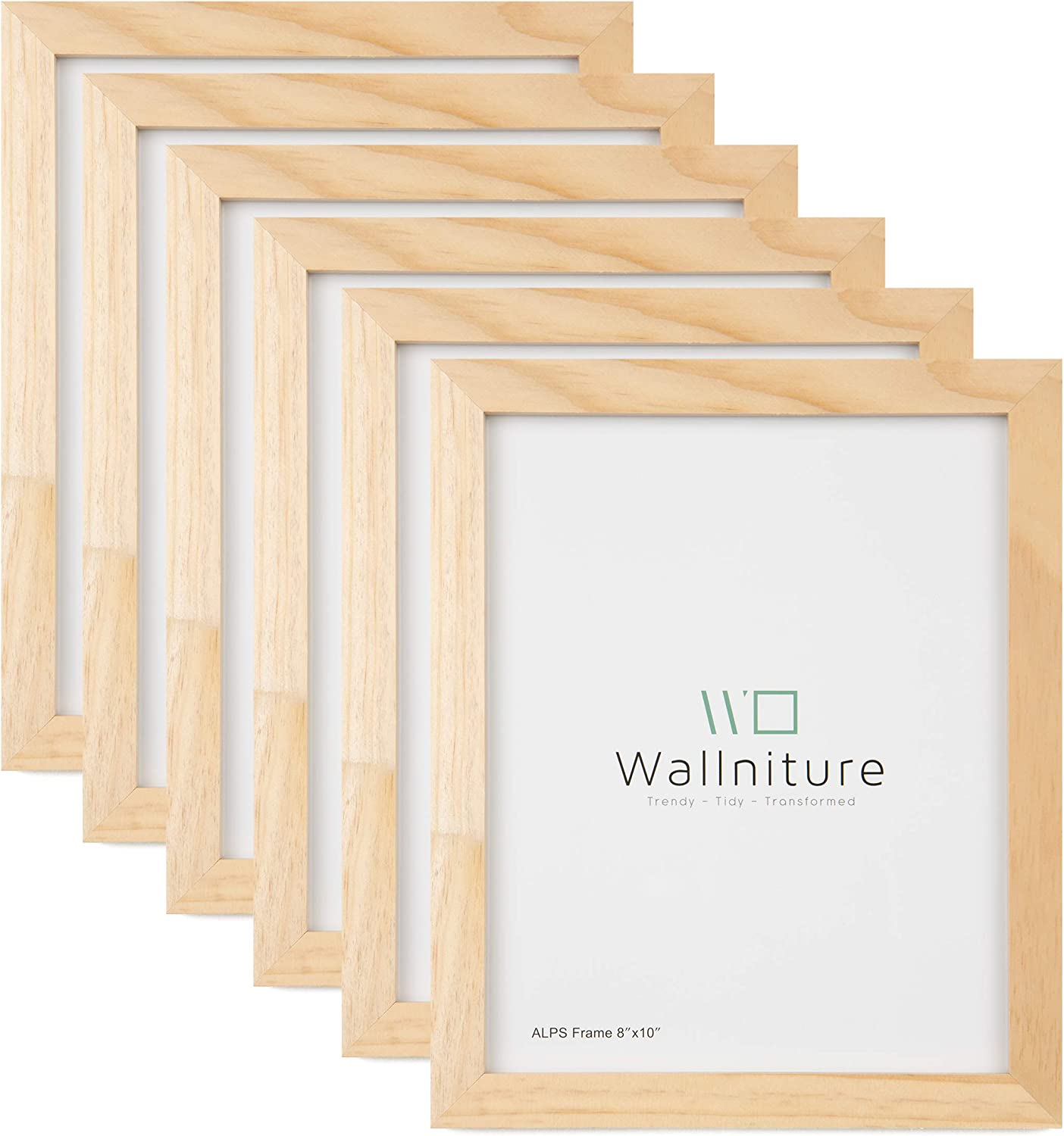 Wallniture Alps DIY Wall Decor 8x10 Picture Frames Table Top Display or Wall Mount, Set of 6 Natural Finish