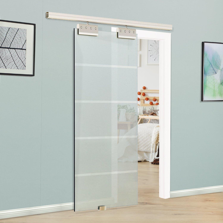 Homcom – 7 ft – Puerta corredera de cristal | hardware pista Kit | 8 mm | de cristal templado inoxidable Hanger | 775 x 2050 mm: Amazon.es: Bricolaje y herramientas