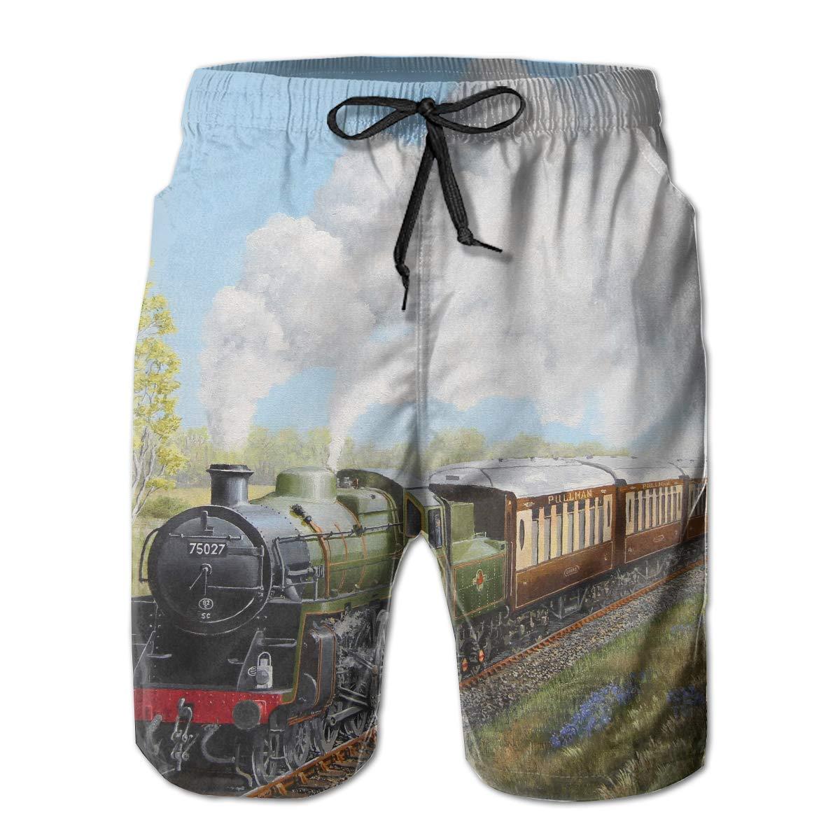 VIRTUALSHELF Mens Swim Trunks Steam Train and Railway Quick Dry Drawstring Surfing Beach Board Shorts with Pockets