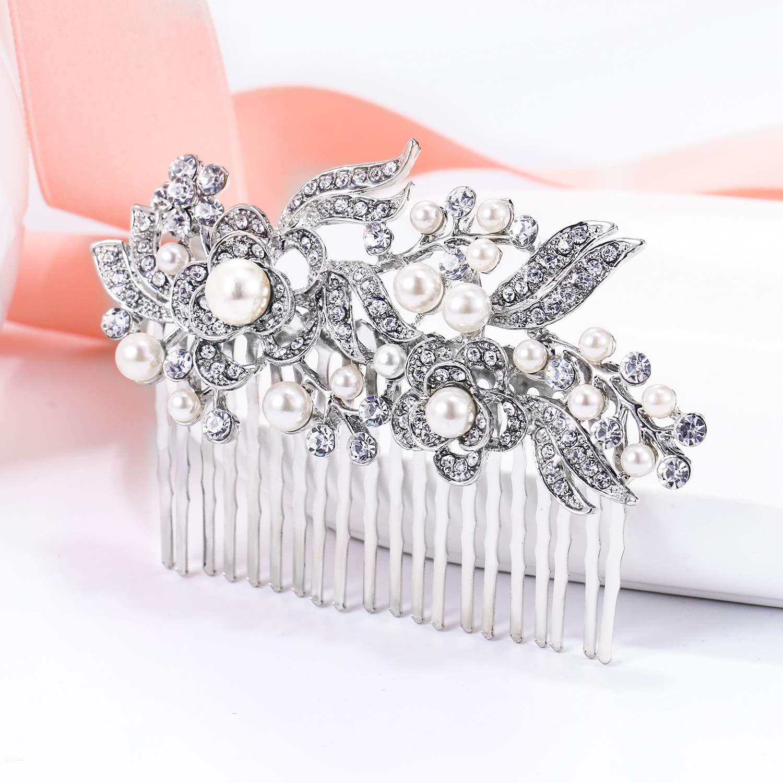 Ever Faith Cristal Gatsby Inspirado Color Marfil Perla Simulada Peineta de Pelo