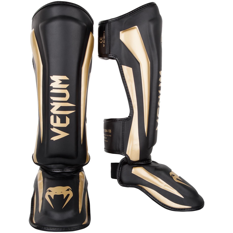 Venum Elite Shinguards - Black/Gold - M
