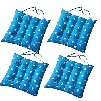 4 cómodos cojines cuadrados para silla (lunares), tapicería ...