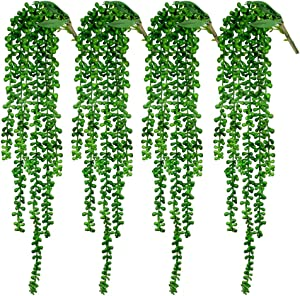 "CEWOR 4pcs Artificial Succulents Hanging Plants Fake String of Pearls (23.62"" Each Length)"