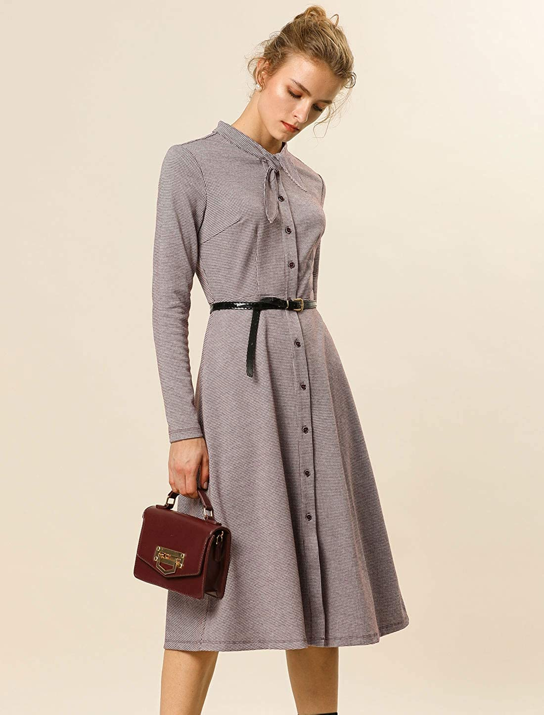 500 Vintage Style Dresses for Sale | Vintage Inspired Dresses Allegra K Womens Houndstooth A-Line Bow Tie Neck Midi Plaid Autumn Dress $29.99 AT vintagedancer.com