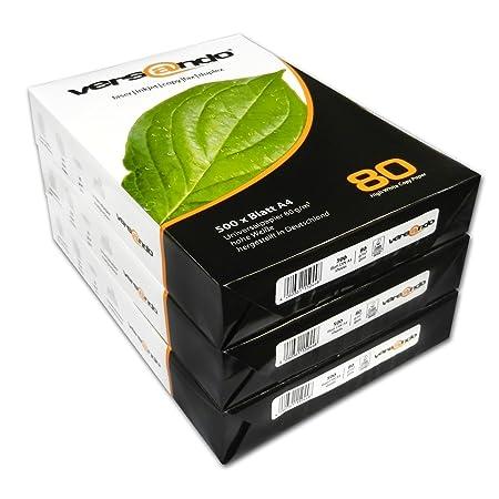 DIN A4 wei/ß Versando 1500-SAFERBOX-V80A480 Kopierpapier 3 x 500 Blatt 80g//qm