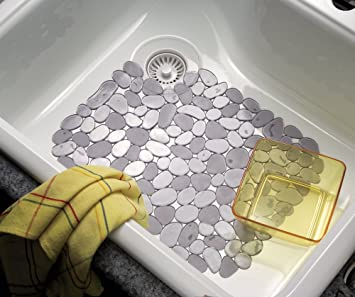MDesign Pebbles Kitchen Sink Protector Mat, Graphite