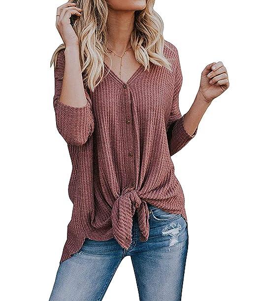 c54103d35 ZHENWEI Womens Knit Tunic Sweater Tie Knot Blouse Bat Wing Plain Henley Tops