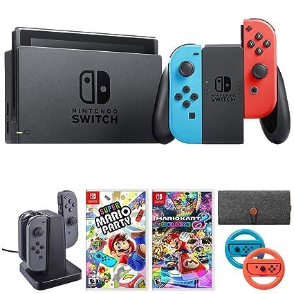 Amazon Com Nintendo Switch 32 Gb Console W Neon Blue And