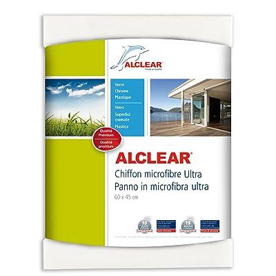ALCLEAR 950002 Chamoisette en microfibre - idéale pour le nettoyage de voitures, de la maison, de vitres et du chrome - 60x45 cm, blanc