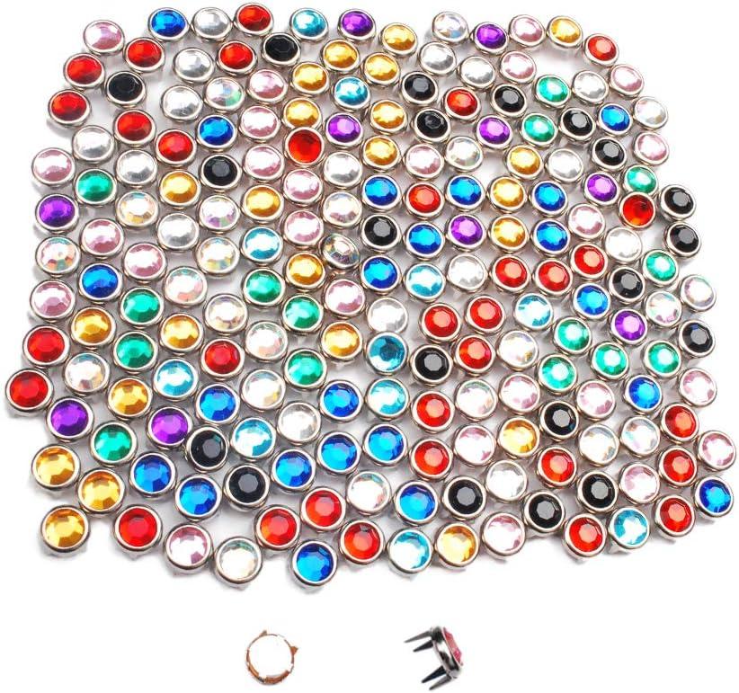 200 remaches redondos de 8 mm de diamantes de imitación, remaches punk, para ropa, zapatos, bolsas, cinturones, GZ080-8 (mezcla)